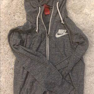 Gray Nike zip up with hood